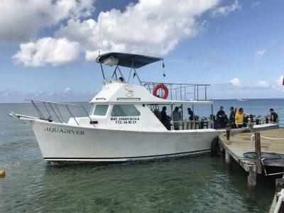 Dive boat board Cozumel