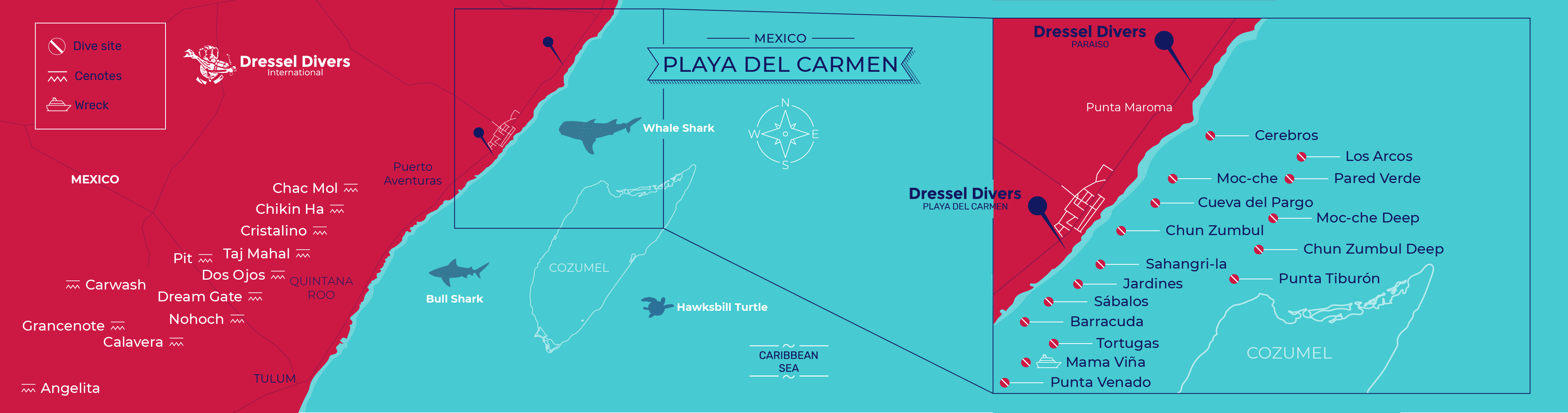 Scuba Diving Playa Del Carmen - Reef map