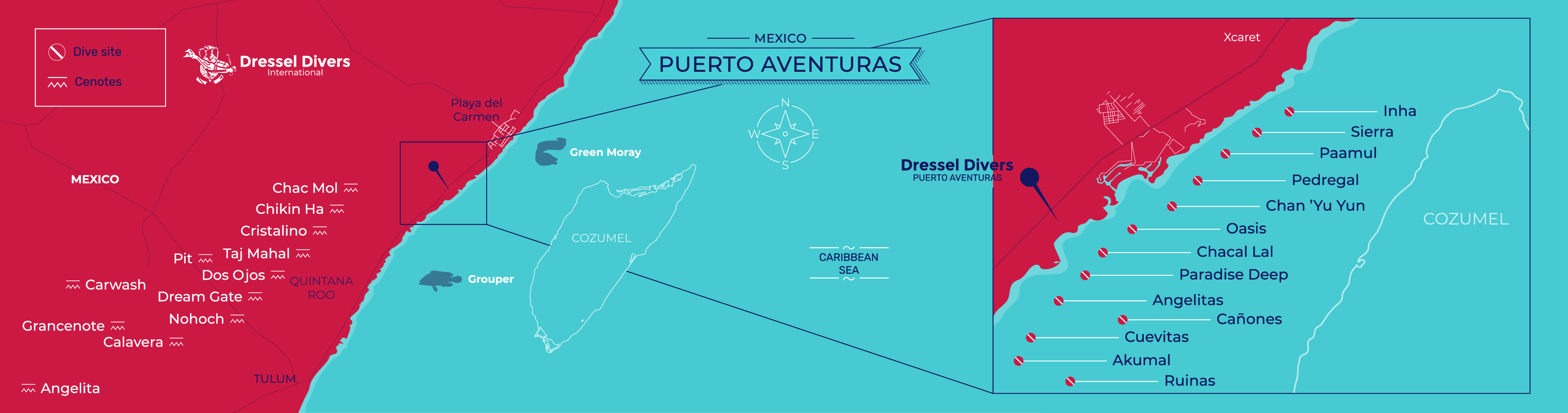 scuba diving Puerto Aventuras - map