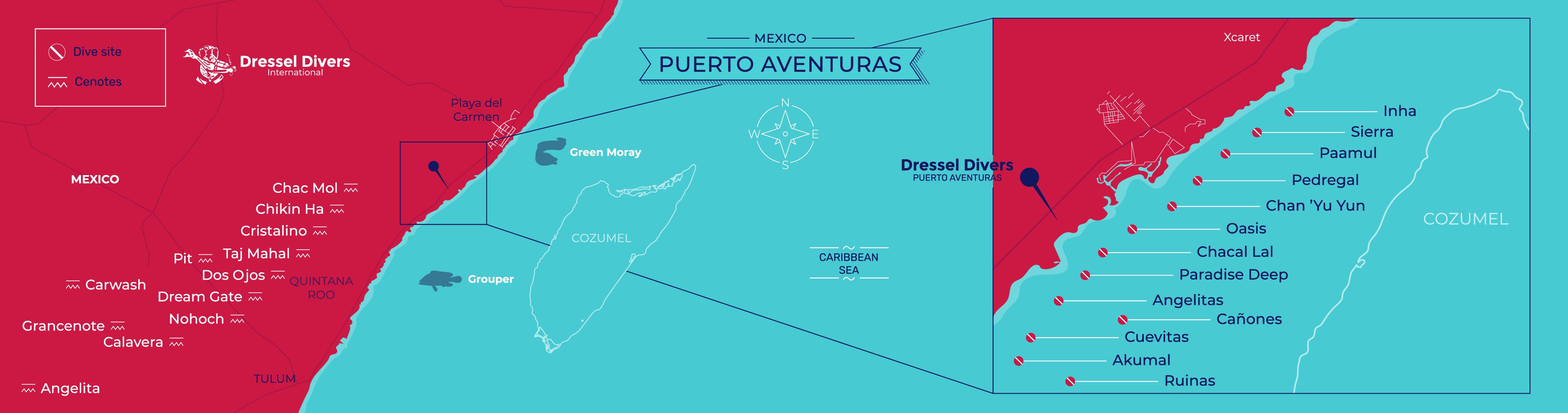 scuba diving Puerto Aventuras - map