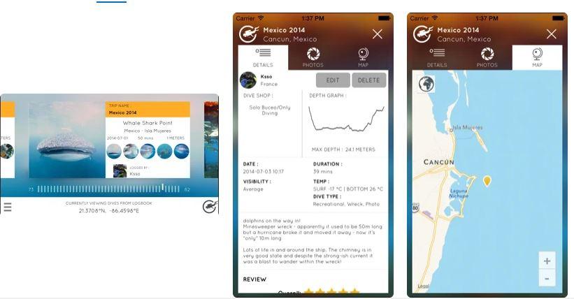Scuba diving app - dive board