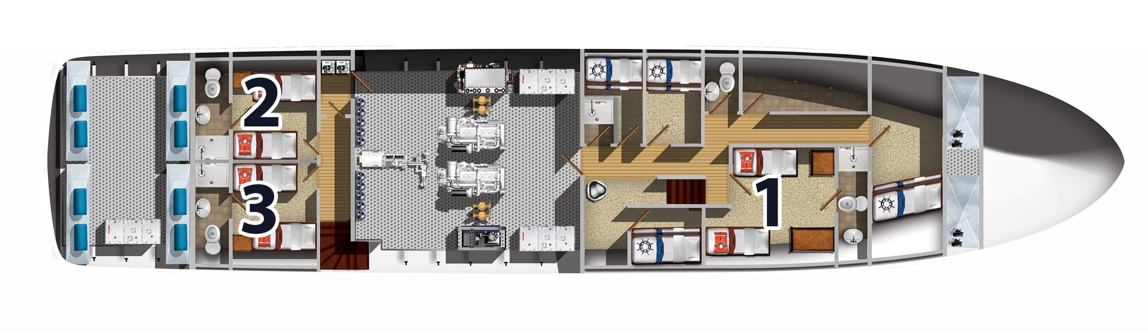 bikini atoll liveaboard diving - lower deck (deck plan)