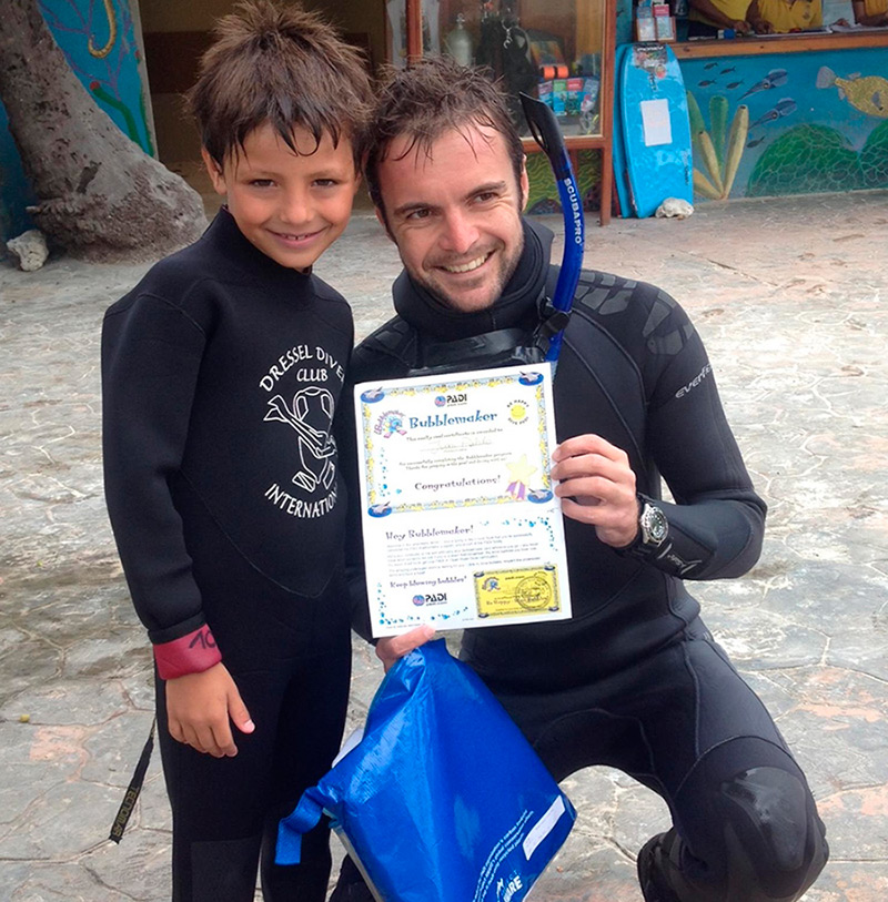 scuba diving age restrictions - Marcello and bubblemaker kid